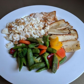 Scrambled egg whites with assorted Asian vegetables