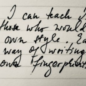 A snapshot of my handwriting exposed in a square photo within this platform