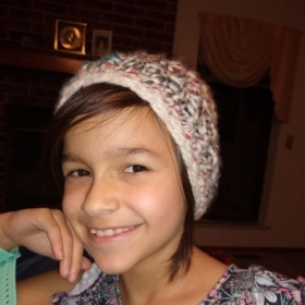 Great job! Crocheting your hat, Jennifer. 