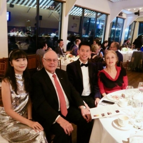Wenting and Jingci Piano Duo, Fontainebleau Annual Gala, with President Rawson and American Diplomat