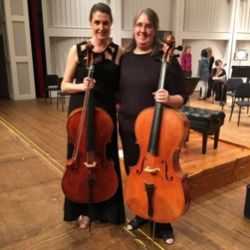 With solo cellist Clare Bryant, now the cello professor at the University of South Carolina (successor to my doctoral advisor)!