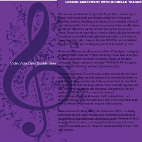 Lesson agreement with Michelle Teague