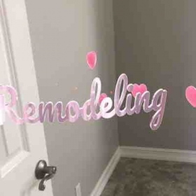 "Remodeling for you, in this new confortable sewing room. "" Creative Stitches"""