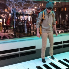 Me playing on the floor piano in FAO Schwartz from the movie Big.