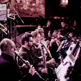 Playing clarinet with The Wallace Roney Orchestra.
