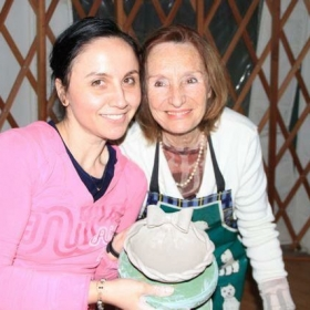 Enjoying ceramic classes with my Italian instructor