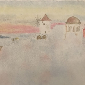 Santorini Island in chalk