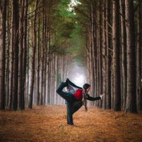 Natarajasana in the woods of Brantley, Alabama.