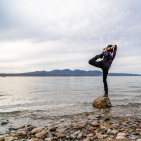 Standing Mermaid Raja Kapotasana on Lake Havasu, Arizona.