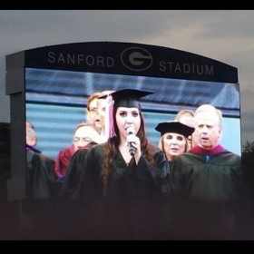 Performing in the UGA football stadium.