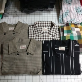 A collection of shirts made from a customized 50's pattern. I actually made 9 of them.