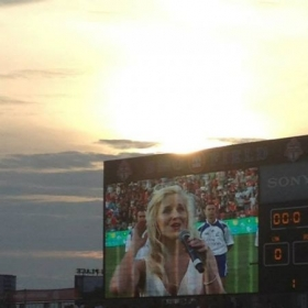 "Performing ""Ireland's Call"" at an international rugby match, BMO Field Toronto"