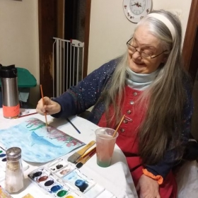 A relaxing watercolor session.