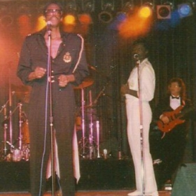 "This is the Album cover for 'Eddie Kendriks, David Ruffin Live at the Sands"". I'm using a red Strat"