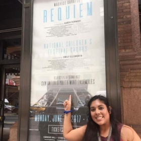 Me in front of Debut concert poster. Carnegie Hall.