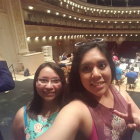 Me and fellow flute player behind the scenes during rehearsals at Carnegie Hall!
