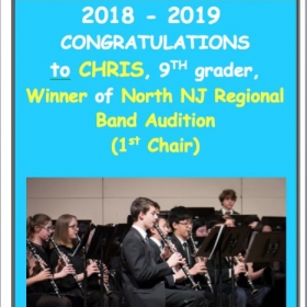 Congratulations to Chris M., Winner of North NJ Regional Band Audition (1st Chair)