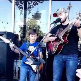 Had a blast getting to have one of my students come up and perform a song with me during an annual crawfish boil.