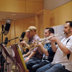"""I'm the guy with the hat. Mike Barone big band """"Birdland"""" recording session."""