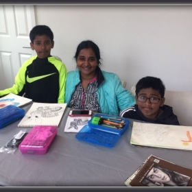 Cheer ups for the amazing Nimmagadda family, learning art together.