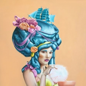 """""""Her name is Roe Coco"""" - a commissioned 30"""" x 40"""" oil painting. Voted """"Popular Award"""" at the San Diego County Fair."""