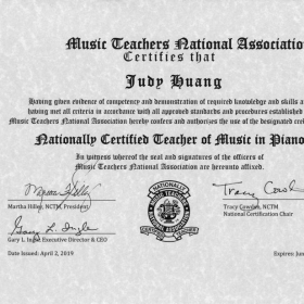 Nationally Certified Teacher of Music in Piano