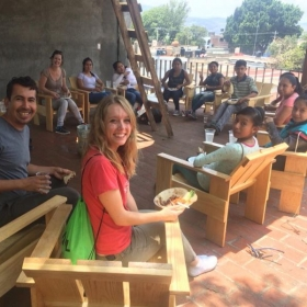 Eating lunch after helping paint the newly-built Hotel Con Corazón (non-profit foundation) in Oaxaca, México