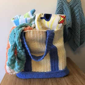 Beautiful hand crafted beach bag with beach cover-up