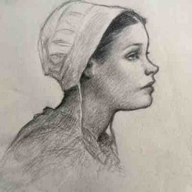 Amish girl, Graphite on paper.