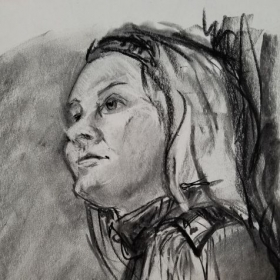 Charcoal from model
