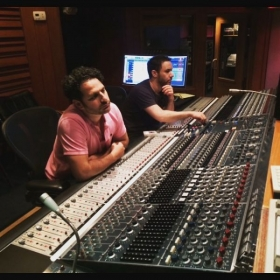 Me and a collaborator at the famous Village Recording Studios.