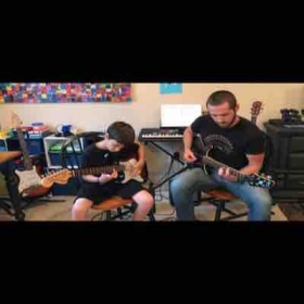 """Jamming out to some """"7 Nation Army"""" after he put in some serious work to nail the guitar solo."""