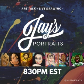 You can join me for art talks and live drawings