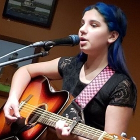 One of many young students at the Stan Munslow Studio embarking on careers as professional musicians. 13 year-old guitarist/vocalist, Astrid