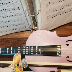 My teaching violin. Lots of colors to coordinate and demonstrate.