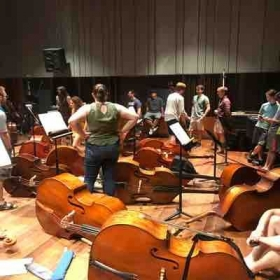 Bass Orchestra recording session at Milt Hinton Bass Institute Oberlin Conservatory.