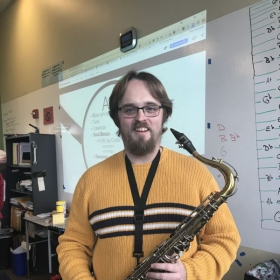 I typically teach high school classes with my horn close by, so my students are used to seeing this.