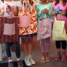 Children's sewing class completed tote bags!