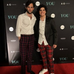 """Student, Gianni with star of Lifetimes """"You"""" ; Penn Badgley"""
