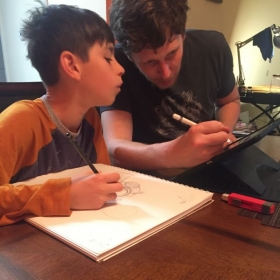 The kid is a very talented artist, he's probably teaching me in this pic!