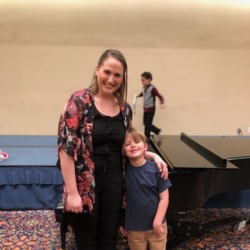 One of my students and myself after the Spring recital.