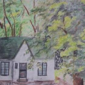 Pastel drawing of the little cottage across from my apartment.