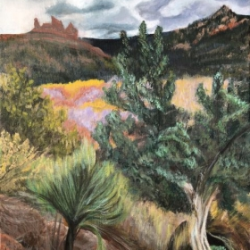 "Gray Morning: Sedona, Acrylic, 20"" x 16"""
