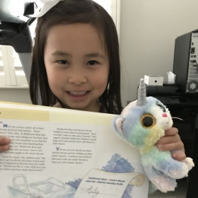 Finished her first piano book!