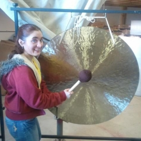 Testing Gong's and Tam Tams at the Gong Shop in Omaha Nebraska.