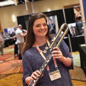 at the 2018 National Flute Association annual convention in Orlando, FL. Instrument: black nickel-plated bass flute made by Trevor James