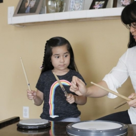 5 year old, Bernadette, learning hand technique.