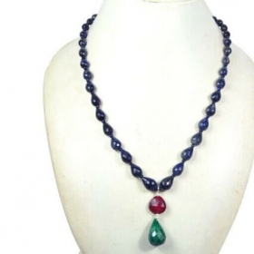 247+Ct Natural Sapphire Ruby Emerald Pear Drop Briolette Faceted Beaded Necklace