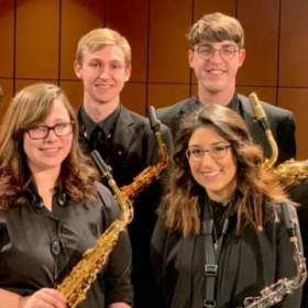 The Kansas State University Wind Ensemble Saxophone Section from 2019!