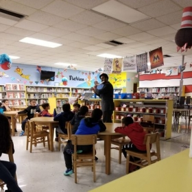 Damian J performing for the 3rd grade at Sunset Park Elementary, Miami, Florida., 2019